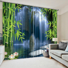 3D Photo Printing Bamboo Waterfall Curtains Mural Blockout Drapes Fabric Window
