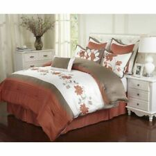 NEW Queen Cal King Bed Beige Gray Orange Embroidered Floral 8 pc Comforter Set