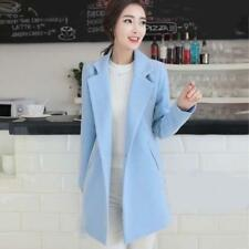 Womens Long One Button Jacket Wool Blend Coat Trench Overcoat 6 Colors Dating SZ