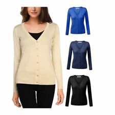 Women's Casual V-neck Button Down Ribbed Long Sleeve Soft Knit Cardigan Sweater