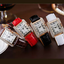 Women's Faux Leather Rhinestone Band Square Dial Quartz Analog Wrist Watch Gift