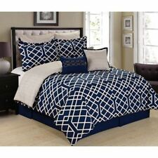 NEW Twin Full Queen King Bed Navy Blue Cream Gold Trellis Geo 8 pc Comforter Set