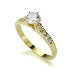 Women 14K Gold 0.5Carat CZ 6 Prong Solitaire Channel Set Wedding Ring Band