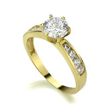 Women 14K Gold 1 Carat CZ 6 Prong Solitaire Channel Set Wedding Ring Band
