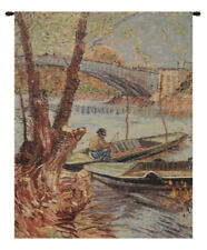 Van Gogh Fishing in the Spring  Belgian Woven Tapestry Wall Hanging NEW