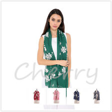 Womens Girls Soft Green Long Crinkle Scarf  Wrap Voile Wraps Stole Shawl Floral