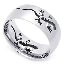 Men Fashion 9MM Stainless Steel Cut-Out Lizard Comfort Fit Band Ring