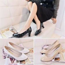 Simple Patent Leather Classic Office Lady Round Toe High Thick Heel Pumps Shoes
