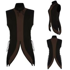 Mens Medieval Shirt Vest Laced Up Renaissance Pirate Landlord Knight Tops