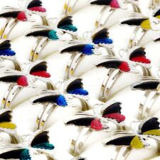 Wholesale Lots Mixed 10-50pcs Change Color Butterfly Silver Plated Mood Rings
