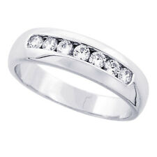 Women 925 Sterling Silver CZ Channel Set Wedding Ring Band 6mm