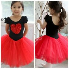 Kid Girls Princess Ballet Tutu Dress Heart Print Leotard Ballerina Costume Skirt