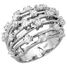 Fine Women 925 Sterling Silver Rhodium Plated, Dome Wire Ring Band