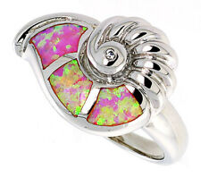 Fine Women Silver Rhodium Plated, Pink Simulated Opal Snail Shell Ring 15mm