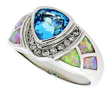 Fine Women 925 Sterling Silver Rhodium Plated Pink Opal Ring Light Blue 13mm