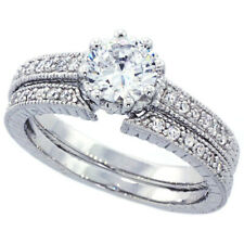 Fine Women Silver Rhodium Plated Vintage 2Pc Engagement Ring Bridal Sets 5mm
