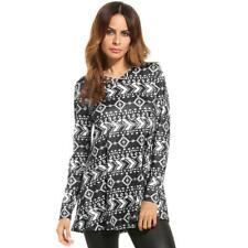 Women Casual V-Neck Long Sleeve Print Loose Fit Blouse Tunic Tops FV88