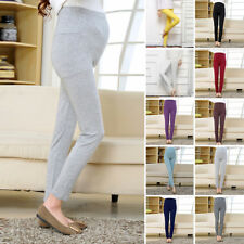 Women Ladies Soft Casual Elastic Fashion Pregnant Solid Color Maternity Trousers