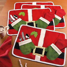 Lot 1/2/4 Table Placemat Happy Santa Clause Christmas Dinning Placemat Table Mat