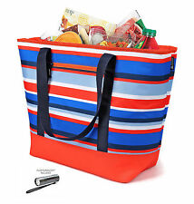 Insulated Mega Tote Red/Blue/White Outdoor Picnic Cooler Bag for Camping, Sports