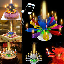 Cake Topper Birthday Lotus Flower Decoration Candle Blossom Musical Rotating .
