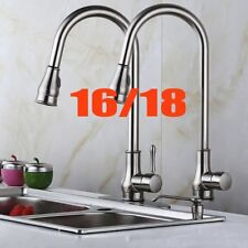 "16"" 18"" Brushed Nickel Kitchen Sink Faucet Pull-Out Spray Spout Dispenser US SK"