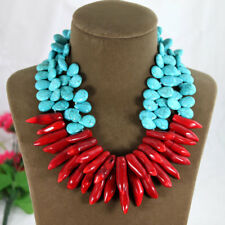Fashion Gorthic Coral Bead Pendant Wedding Jewelry Set Beads Necklace for Women