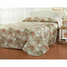Twin Full Queen King Bed Brown Beige Coral White Seashells Coastal Bedspread