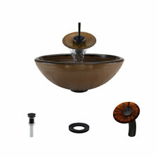 MR Direct Hand Painted Glass Circular Vessel Bathroom Sink with Faucet