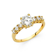 1.25Ct Round Cut Diamond Solitaire Engagement Wedding Ring Solid 14K Yellow Gold