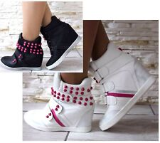 WOMEN LADIES HI TOP WELCRO WEDGE TRAINERS SNEAKERS PUMPS SPORT ANKLE BOOTS SIZE