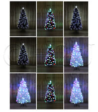 Christmas Xmas Tree Fibre Optic LED Lights with Stars Festive Decoration Multi