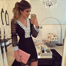 Evening Party Dress Lace Dress V-neck New Womens Bodycon Cocktail Dress