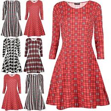 Womens Jersey Long Sleeve Ladies Dog Tooth Tartan Check Printed Swing Mini Dress