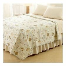 Twin Full Queen King Bed Beige Nautical Summer Beach Seashell Quilt Coverlet