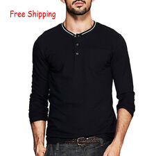 Mens Basic Tee Cotton Long Sleeve Slim Fitted Henley T Shirt M L XL XXL ZT-919