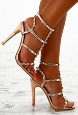 NEW Pink Boutique Ladies High Drama Rose Gold Studded Strappy Heels