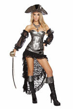 Sexy 4 Pc Women's Pirate Skull Lace Up Corset & Lace Skirt Halloween Costume Set