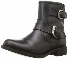 NEW Steve Madden Motorcycle Boots Cain Leather Ankle Bootie Black (Choose Size)