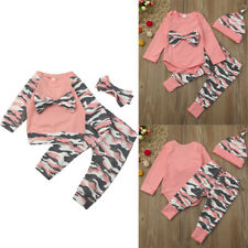 Newborn Toddler Set Baby Girls Boys Camouflage BowTops Pants Outfits Set Clothes
