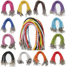 5/20x PU Leather Lobster Clasp Braided String Cord Wire For Bracelet Making 24cm