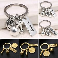 I Can ME vs ME DUMBBELL BARBELL WEIGHT Key Ring Fitness Gym CROSSFIT Keychain