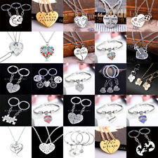 Best Friend Necklace Charm Friendship Bracelets BFF Gifts Pendant Jewelry Silver