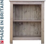 Solid Pine Bookcase, 900mm x 750mm Handcrafted & Waxed Display Shelving Unit