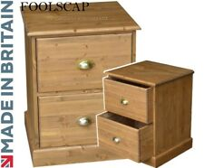 Filing Cabinet, Solid Wood, Pine Home Office 2 Drawer Folio Foolscap Filing Unit