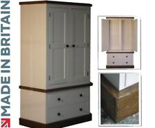 White Painted & Waxed 2 Door Double Wardrobe with Drawers, Gents Robe, Rustic