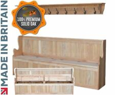 Solid Oak Monks Bench Settle, 7ft Wide Lifting Lid Shoe Storage with Coat Rack