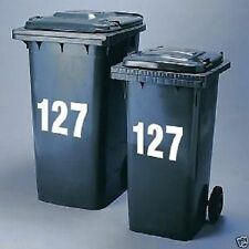 """3x Wheelie Bin Numbers Stickers Self Adhesive Stick On. Available colours , 4""""--"""