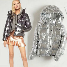 Fashion New Women's Coat Outdoor Winter Silver Hooded Warm Slim Trench Jacket