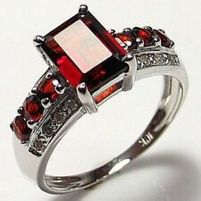 Red Garnet 18K Gold Filled Fashion Engagement Woman's Ring Halo Size 7-11